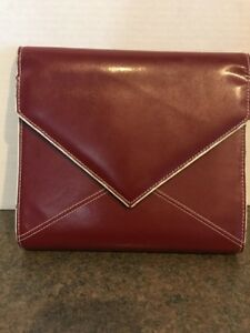 Red Classic Franklin Covey Planner Genuine Leather Snap Envelope Flap Binder
