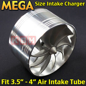 Aluminum Air Intake Fan Turbo Supercharger Turbonator Gas Fuel Saver 3 5 To 4