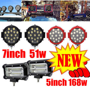 51w 7 Round Led Light Spot Work Off Road Fog Driving Roof Bar Bumper Suv Boat