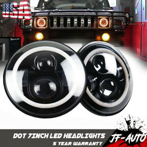 2006 2007 Hummer H3 15884834 Front Pair Led Headlights 7 Halo Ring Angel Eyes