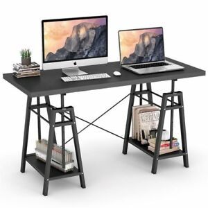 Height Adjustable Computer Desk Spacious Desktop Office Table With 2 Shelves To
