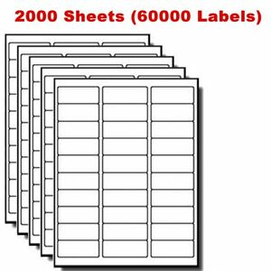 1 X 2 5 8 60000 Labels Address Blank Laser Ink Jet Mailing Adhesive 2 625 X 1