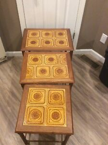 Vintage Mid Century Danish Modern Tile Top 3 Stack Nesting Side Tables Denmark