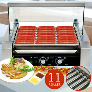 Commercial 11 Roller Hot Dog Grill Cooker Machine W cover For Restaurant Vending