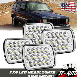 Pair 7x6 5x7 Led Projector Headlight Hi lo Beam Drl For Jeep Cherokee Xj