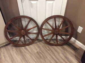 2 Large 24 Antique Vintage Wood Metal Rim Wagon Wheels