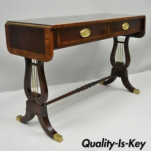 Baker Banded Mahogany Dropleaf Hall Or Sofa Table Lyre Base Ends 2 Drawers