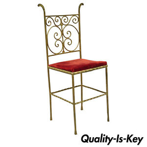 Antique Italian Or Spanish Hollywood Regency Red Gold Iron Gothic Side Chair