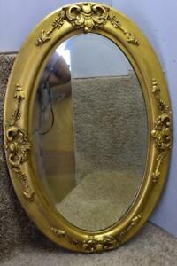 1920 Antique French Carved Wood Gold Gilded Oval Shaped Wall Mirror