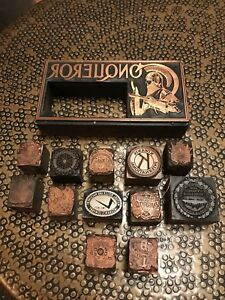Lot Of Antique Letterpress Stamps Fraternal Free Mason