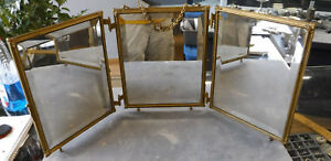 Antique Victorian Celluloid Dresser Top Hanging Tri Fold Vanity Beveled Mirror