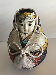 Vintage Japanese Gofun Face Wedding Doll Female In Kimono With Phoenix