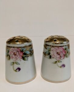 Antique Imperial Nippon Salt Pepper Shakers Hand Painted Gold Gilt
