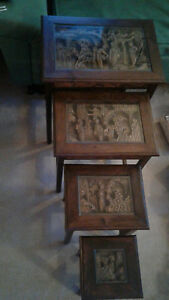 Vintage Chinese Hand Carved Glass Covered 4 Stack Nesting Wood Tables Pick Up
