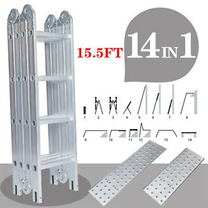 Multi purpose Aluminum Ladder 15 5 Ft Telescopic Folding Extendable Scaffold