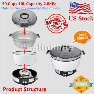 New Natural Gas Commercial Rice Cooker 50 Cups 10l Capacity 2 8kpa Us Shipping