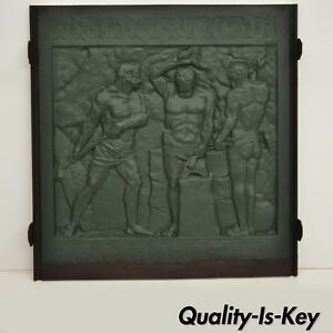 19th Century Cast Iron Fireback Figural Foundry Worker Depiction 31 5 X 31