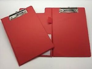 A5 Red Foldover Clipboard With Pen Holder Clip Board