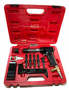 Aircraft Tools New Deluxe 737 Red Box 4x Rivet Gun Kit With Blocks Snaps