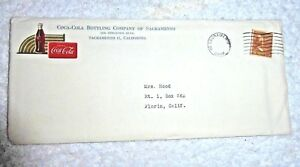 VINTAGE ENVELOPE WITH LETTER COCA COLA BOTTLING COMPANY OF SACRAMENTO CALIFORNIA
