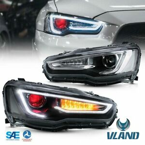 Blackout Headlamps For 08 17 Mitsubishi Lancer Evo X Headlights Red Demon Eyes