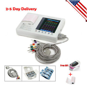 Us Portable 3 channel 12 lead Electrocardiograph Ecg Ekg Machine W Printer 100