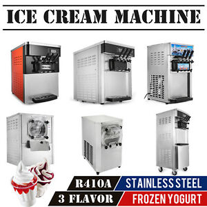Commercial Mix Flavor Ice Cream Machine 304 Stainless Ice Cones Maker R410a
