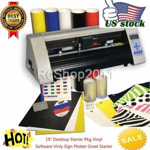 19 Rs500c Desktop Starter Pkg Vinyl Cutter Software Vinly Sign Plotter Usa Ship