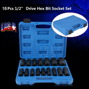 16pc 1 2 Drive Air Impact Deep Socket Set Sae 1 2in Dr Impact Wrench Sockets