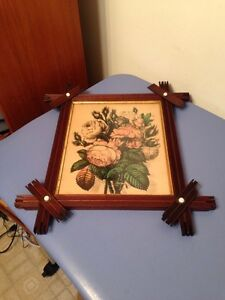 Antique Currier Ives Style Rose Lithograph Fantastic Adirondack Frame