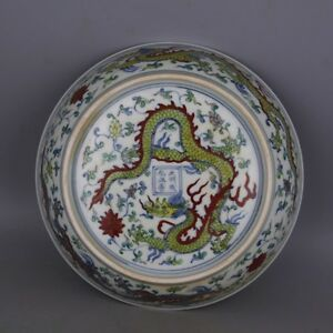 9 1 Collect Old China Doucai Glaze Porcelain Dragon Painted Bowl Tray Plate
