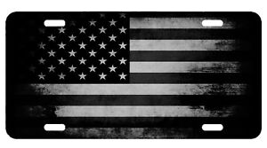 Custom Usa Us Flag American Flag Tactical Black And White Vanity License Plate