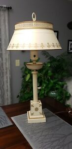 Antique Metal Brass Iron Table Lamp Toleware W White Glass Torchiere Shade