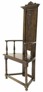 Continental Armorial Carved Wood Hall Chair 19th Century 1800s