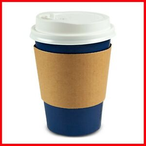 80 Pack Disposable Paper Coffee Cups With Lids And Sleeves 12 Ounce Navy Blue