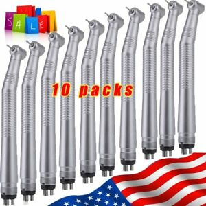 10 Packs Dental High Speed Handpieces Push Button Type 4 Holes Turbine Sale To