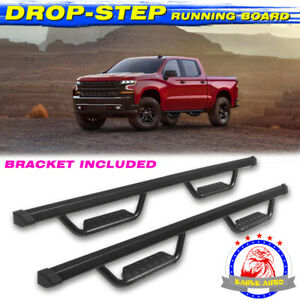 For 14 18 Chevy Silverado Crew Cab 3 Running Boards Nerf Bar Side Step Black Bd