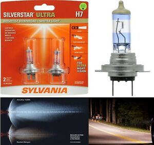 Sylvania Silverstar Ultra H7 55w Two Bulbs Head Light Low Beam Replacement Lamp
