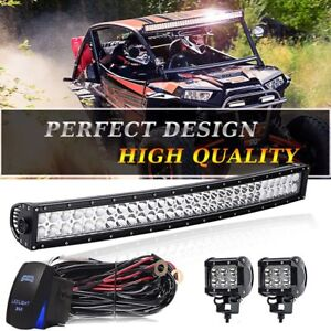 Upper 30 Curved Led Light Bar Combo fog Pods wiring For Harness Silverado