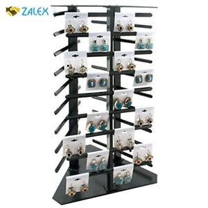 Revolving Earring 108 Card Display Jewelry Stand Earring Rack Rotating Black New