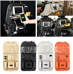 Luxurious Car Seat Back Storage Organizer Food Drink Table W 4 Usb Phone Charger