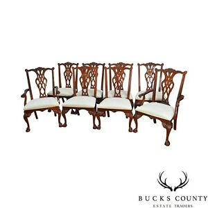 Stanley Stoneleigh Set Of 8 Mahogany Ball Claw Carved Dining Chairs