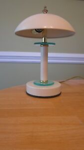 Desk Lamp Accent Light Vintage Modern Ufo Flying Saucer Atomic White Aqua Works