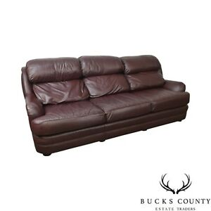 Classic Quality Leather Plum Sofa