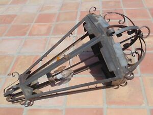 4ft Vtg Light Fixture Outdoor Large Iron Chandelier Lantern Spanish Goth Tudor