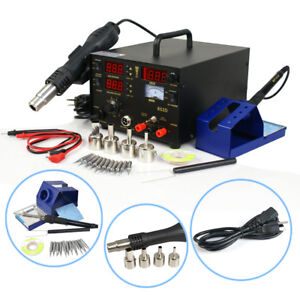 853d Soldering Rework Station Iron Welder Desoldering 4 Nozzles Hot Air Gun Tool