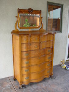Antique Golden Oak High Boy Dresser Chest Of Drawers C 1890s Pickup Only