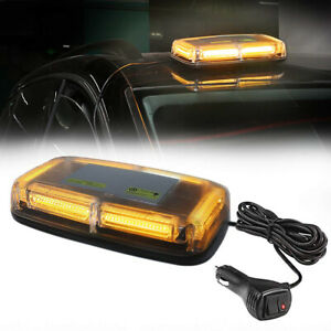 6 Cob Led Roof Top Flash Emergency Warning Mini Strobe Light Bar Amber