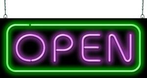 Deluxe Open Purple Green Neon Sign Jantec 2 Sizes Diner Cafe Bar