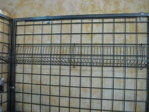 Metal Grid Wall With Shelves Hammer Tone Color